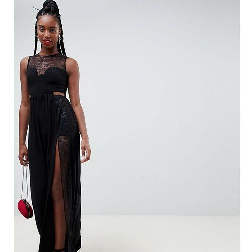 ASOS DESIGN Tall lace insert slinky maxi dress - Black, kolor czarny