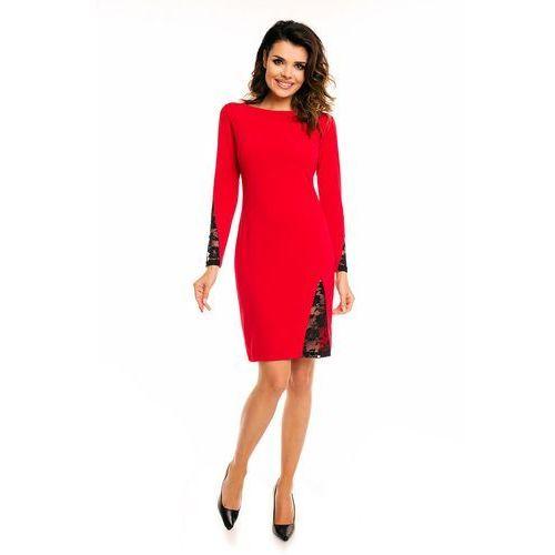 Czerwona Elegancka Sukienka przed Kolano z Prześwitującą Koronką, kolor czerwony