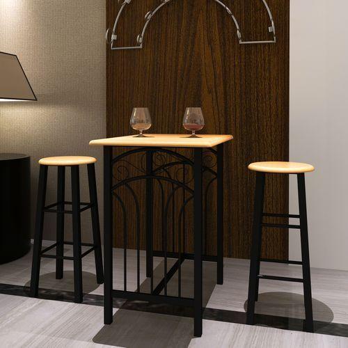 vidaXL Zestaw jadalniany, piękny, czarny metal i drewniane blaty.