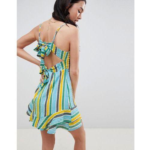 Boohoo tie back ruffle hem mini dress - multi