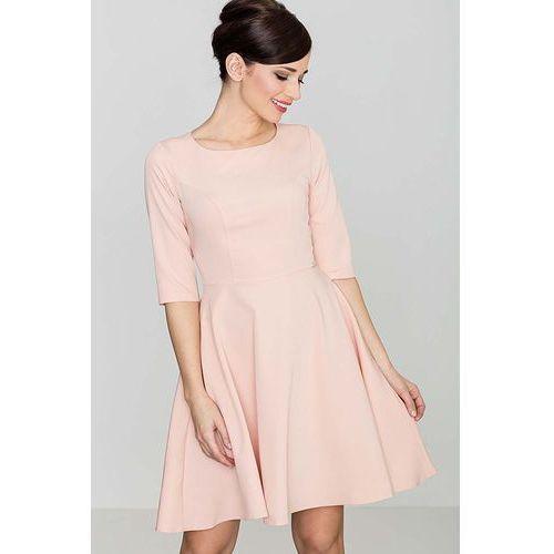 fd8a1dd745 Różowa klasyczna sukienka z rękawem 1 2