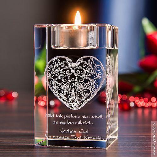 Koronkowe Serce 3D z Twoją dedykacją ♥ świecznik • GRAWER 3D