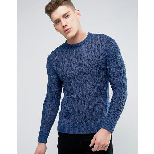 mens crew neck knitted jumper with beehive knit - blue marki Brave soul