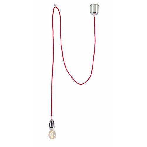 Kaspa Lampa wisząca single 10364111 dekoracyjna oprawa metalowa retro żarówka bulb kabel przewód czerwony