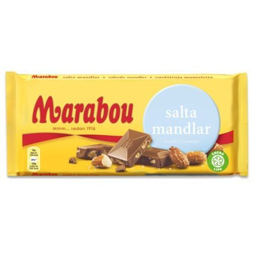 Marabou - salta mandlar - czekolada mleczna ze słonymi migdałami - 200g - ze szwecji (7622210318251)