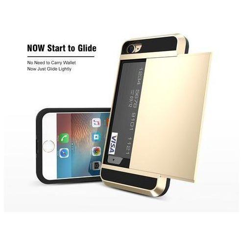 Etui typu zbroja z miejscem na kartę kredytową dla iPhone 8 Plus - Czerwone - Czerwony \ iPhone 8 Plus, kolor czerwony