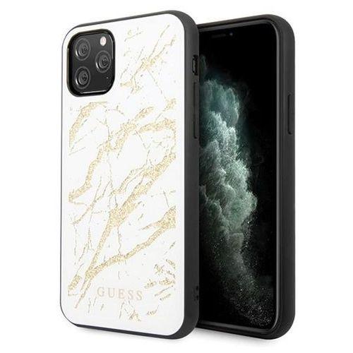 Etui Guess GUHCN65MGGWH iPhone 11 Pro Max biały/white hard case Glitter Marble Glass (3700740470602)