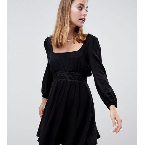 ASOS DESIGN Petite square neck skater mini dress with long sleeves - Black, kolor czarny