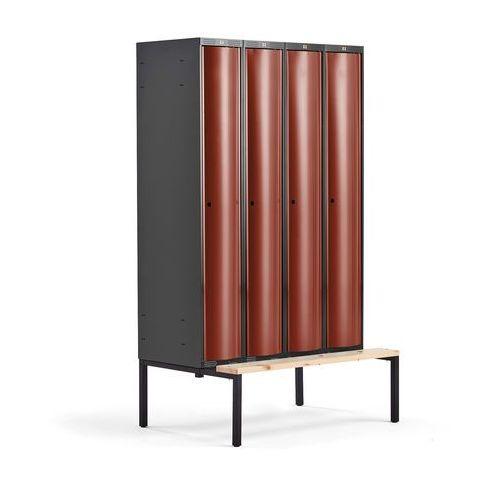 Aj produkty Metalowa szafa ubraniowa curve, z ławeczką, 4x1 drzwi, 2120x1200x550 mm, czerwony