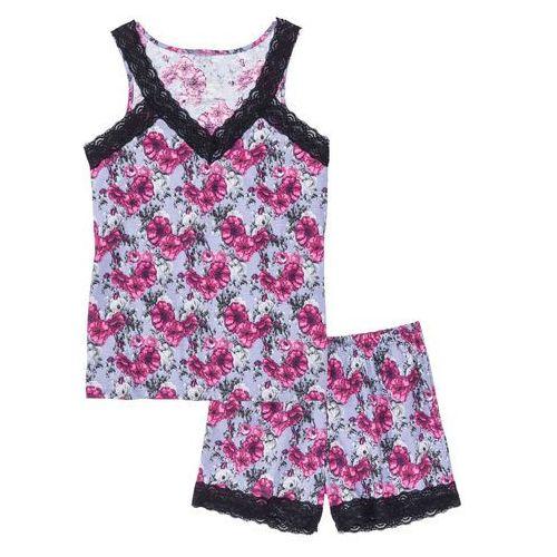 Piżama z krótkimi spodenkami bonprix lawenda-lila w kwiaty, bawełna