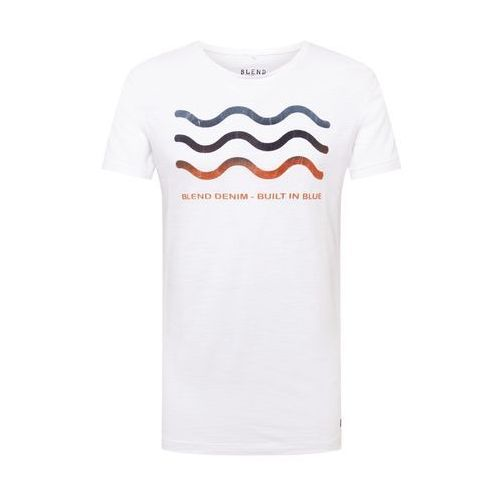 BLEND Koszulka 'Tee' niebieski / rdzawobrązowy / biały, kolor brązowy