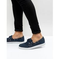 Armani jeans washed canvas boat shoes in navy - navy