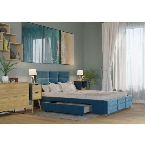 Big meble Łóżko 140x200 tapicerowane bergamo + 2 szuflady + materac welur lazurowe