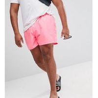 plus swim shorts in bright pink with stripe drawcord short length - pink, Asos, XXL-XXXXL