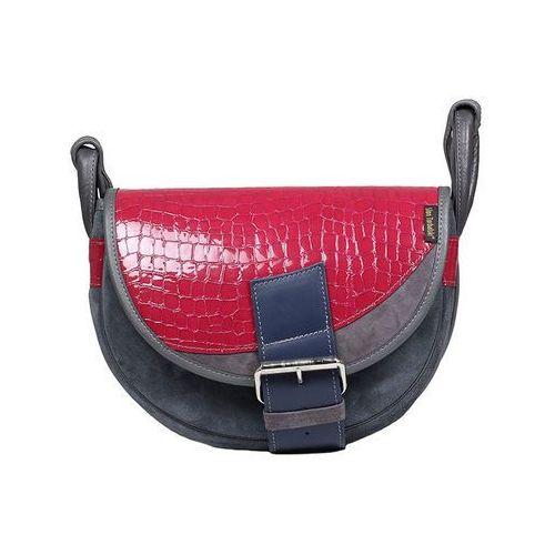 Skórzana torebka listonoszka szary z fuksją - szary ||fuksja ||granatowy