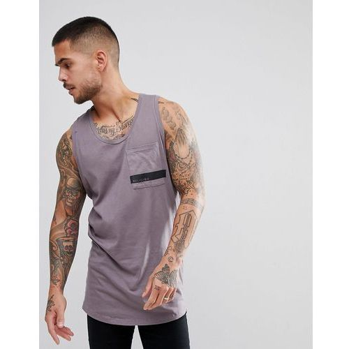 longline vest in grey with curved hem and printed pocket - grey, Religion