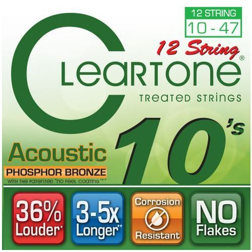Cleartone struny do gitary akustycznej, 12strunowej 10-47 bronze
