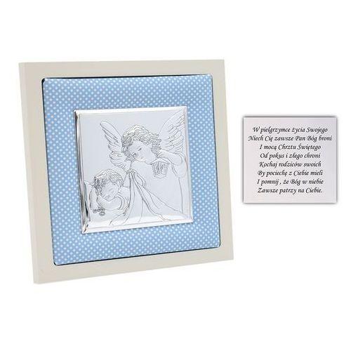 Obrazek srebrny anioł stróż w niebieskiej ramce pamiątka chrztu na chrzest grawer marki Alechrzest.pl