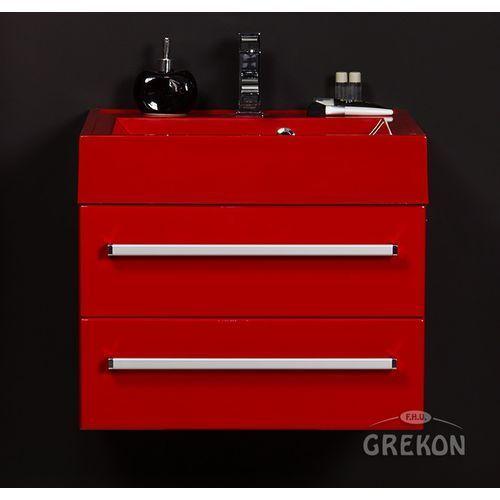 Czerwona szafka wisząca z umywalką 60/50/2CZ seria Fokus CZ