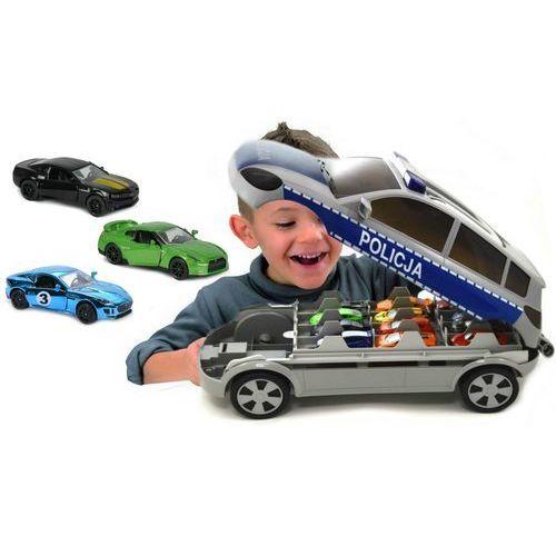Majorette Policja Radiowóz Auto walizka na resoraki + 3 samochodziki