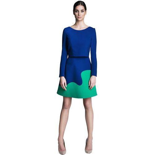 Komplet kobaltowo-zielony bluzka z rękawem i spódnica, kolor niebieski