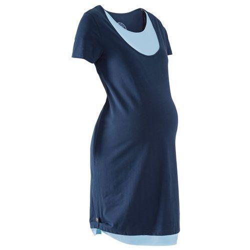 Sukienka shirtowa ciążowa i do karmienia piersią bonprix ciemnoniebiesko-jasnoniebieski, w 8 rozmiarach