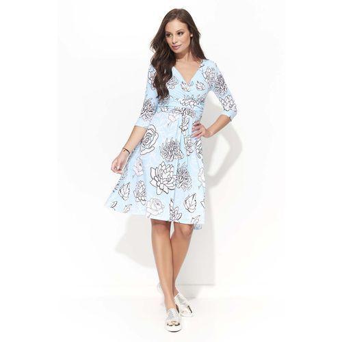 Wizytowa sukienka w kwiatowy wzór z kopertowym dekoltem - wzór 3 marki Makadamia