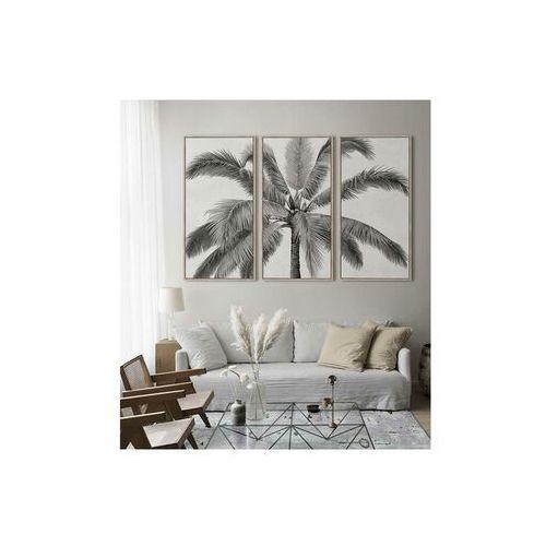 Duży obraz drukowany w ramie palmtree – tryptyk – 180 × 120 × 4 cm (dł. × szer. × wys.) – kolor czarny i biały marki Vente-unique