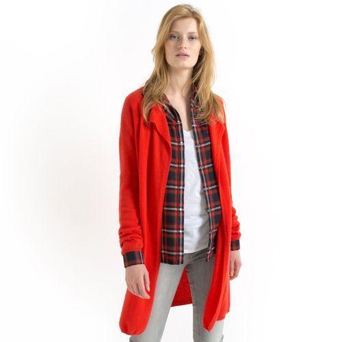 Sweter rozpinany, luźny, długi, 100% kaszmiru