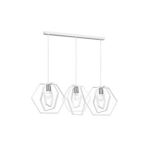 Luminex hexagon 1297 lampa wisząca zwis 3x60w e27 biały chrom (5907565912975)