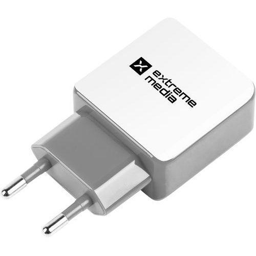 Natec Ładowarka sieciowa extreme media nuc-0996 adapter napięcia 230v -> usb 2,1a x2 biało-szara