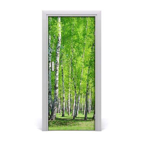 Tulup.pl Naklejka na drzwi samoprzylepna las brzozowy