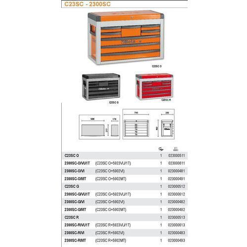 Beta Skrzynia narzędziowa 2300/c23sc z zestawem 86 narzędzi, model 2300sco/vu1t, pomarańczowa