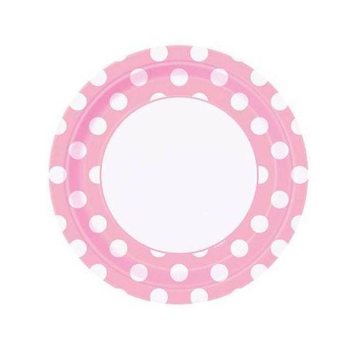 Talerzyki urodzinowe jasnoróżowe w białe kropki - 23 cm - 8 szt. (0011179379750)