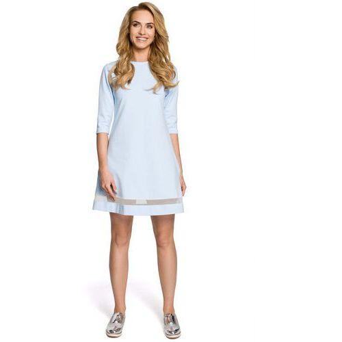 Błękitna klasyczna sukienka trapezowa z siatkowym panelem marki Moe