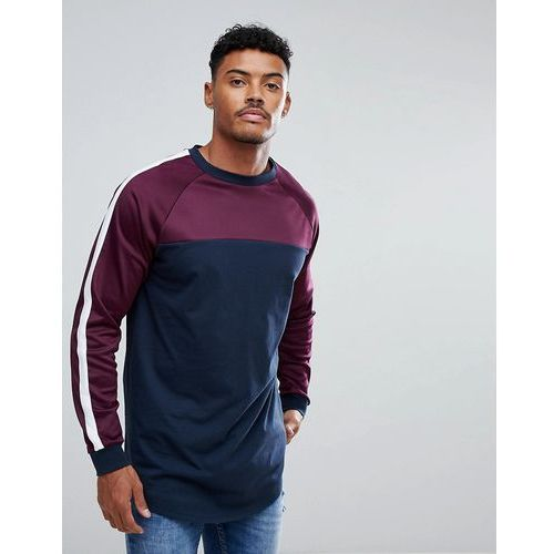 Asos super longline long sleeve t-shirt with contrast yoke and curved hem - navy