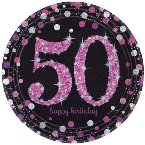 """Amscan Talerzyki papierowe """"urodziny 50"""", sparkling celebrations pink, 23 cm, 8 szt"""