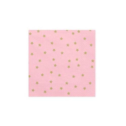 Party deco Serwetki urodzinowe różowe w złote gwiazdki - 33 cm - 20 szt. (5902230750852)