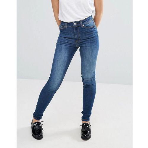 Monki oki skinny high waist jeans - Blue, kolor niebieski