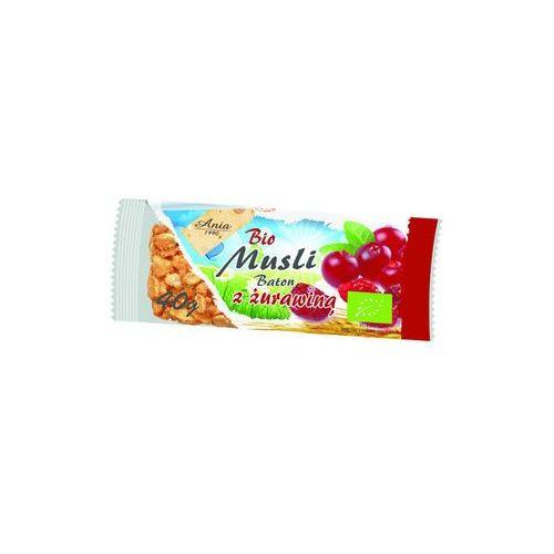 Baton musli z żurawiną BIO 40g - Bio Ania - produkt z kategorii- Płatki, musli i otręby