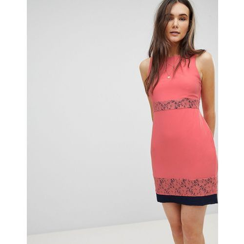 QED London Skater Dress With Lace Inserts - Pink