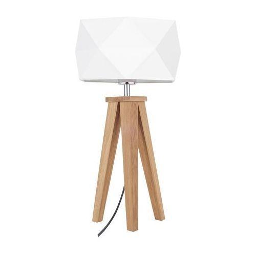 Stojąca lampa stołowa finja 6831174 spotlight abażurowa lampka geometryczna na drewnianym trójnogu drewno biała marki Spot light