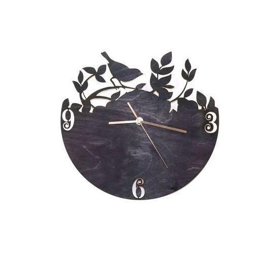 Drewniany zegar na ścianę ptaszek na gałązce ze złotymi wskazówkami marki Congee.pl