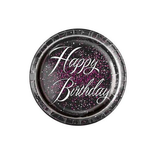 Talerzyki błyszczące Happy Birthday różowe - 23 cm - 8 szt.