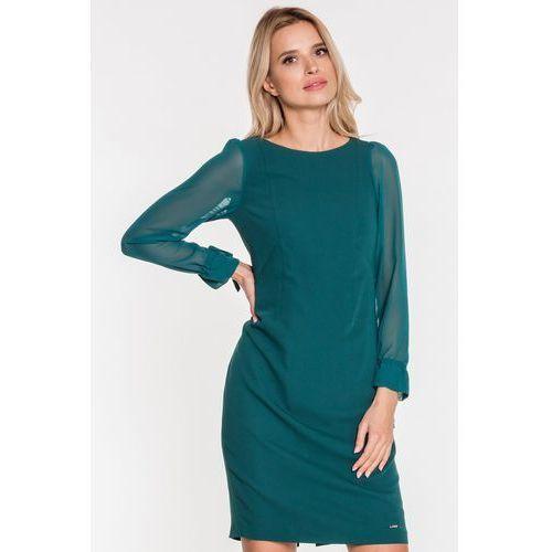 Zielona sukienka z szyfonowymi rękawami - EMOI, 1 rozmiar