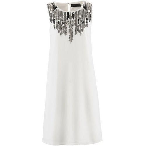 Sukienka szyfonowa z haftem bonprix biel wełny, w wielu rozmiarach