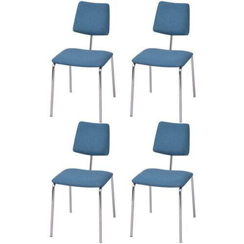 krzesła jadalniane materiałowe, 4 szt. niebieskie marki Vidaxl
