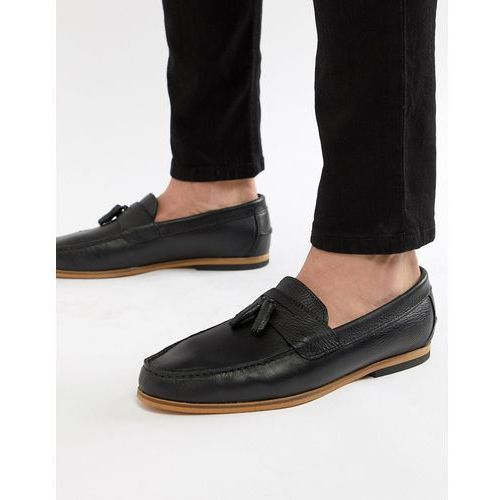 River island leather loafers in black - black