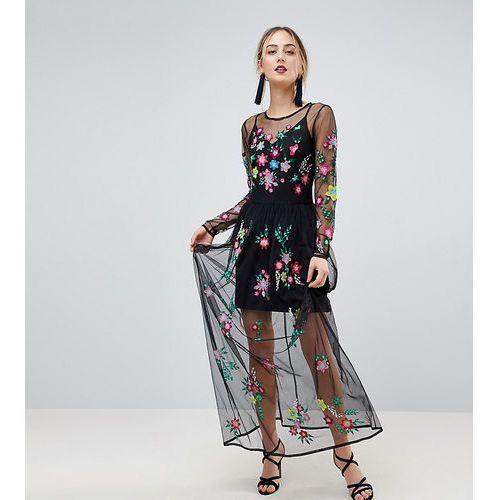 ASOS TALL PREMIUM Mesh Maxi Dress with Floral Embroidery - Black, kolor czarny