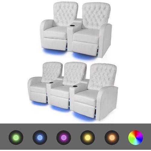 vidaXL Fotele kinowe 2 + 3 osobowe, biała, sztuczna skóra z podświetleniem LED